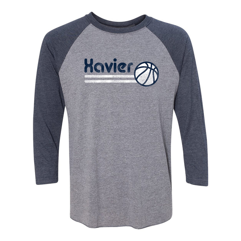 Xavier University Musketeers Basketball Bubble Next Level Raglan T Shirt - Premium Heather/Vintage Navy