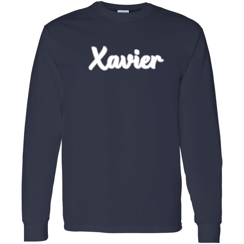 Xavier University Musketeers Basic Script Cotton Long Sleeve T Shirt - Navy