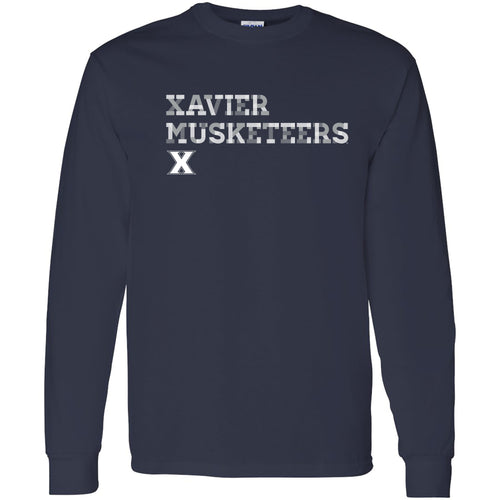 Xavier University Musketeers Patchwork Cotton Long Sleeve T Shirt - Navy