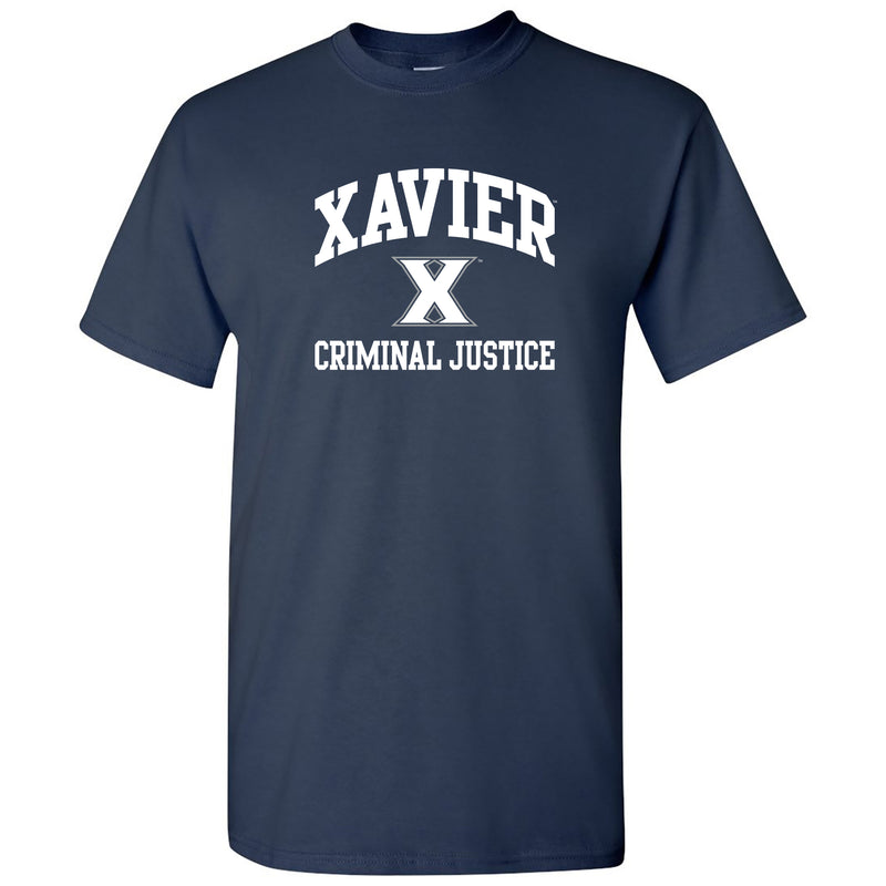 Xavier University Musketeers Arch Logo Criminal Science Basic Cotton Short Sleeve T Shirt - Navy