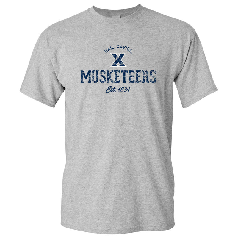 Xavier University Musketeers Established Arch Logo Short Sleeve T-Shirt - Sport Grey