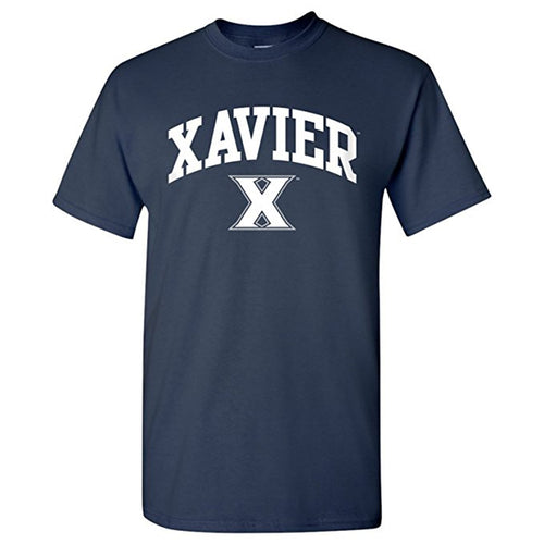 Xavier University Musketeers Arch Logo Short Sleeve T Shirt - Navy