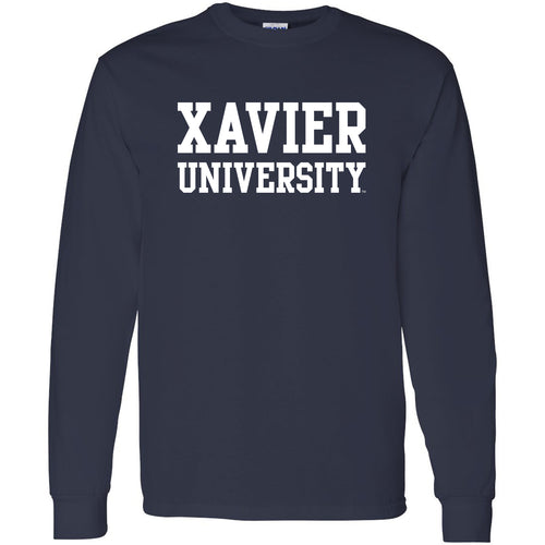 Xavier University Musketeers Basic Block Long Sleeve T Shirt - Navy