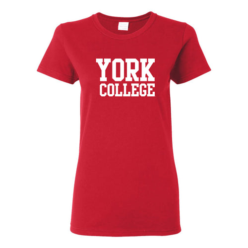 York College Cardinals Basic Block Cotton Womens Short Sleeve T Shirt - Red