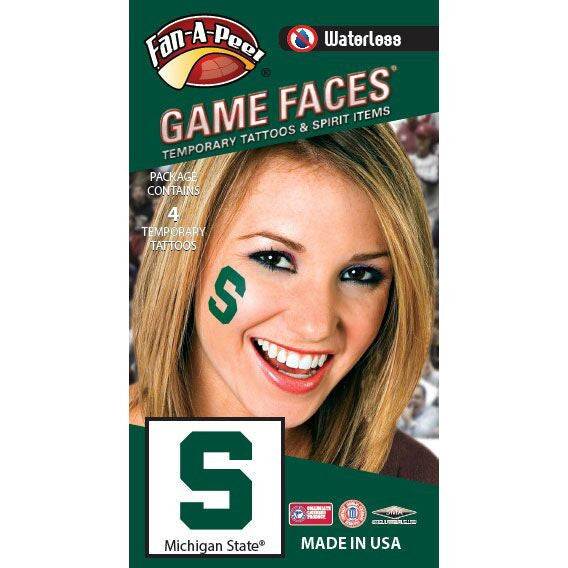 Michigan State University Spartans Fan-A-Peel Cheek Sticker 4-Pack