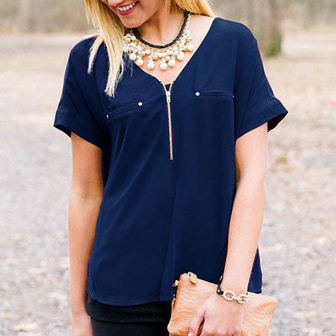 GC Chiffon Zipper Blouse - Navy