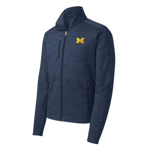 Primary Logo Left Chest Michigan Port Authority Digi Stripe Fleece Jacket - Navy