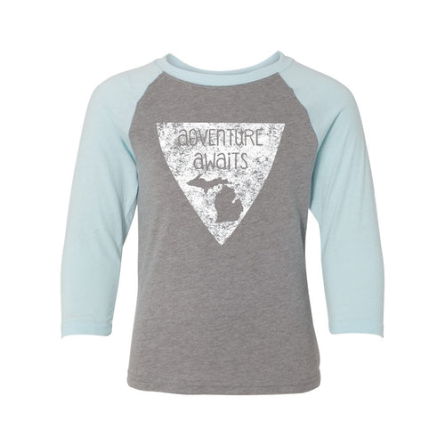 Adventure Awaits MI Youth Raglan - Dark Heather/Ice Blue