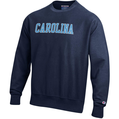 University of North Carolina Screen Printed Reverse Weave Crew - Navy