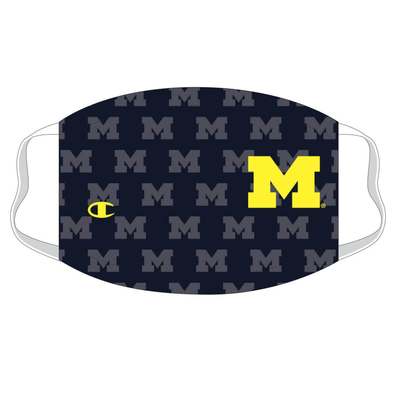 University of Michigan Repeating Logo Champion Face Mask - Navy