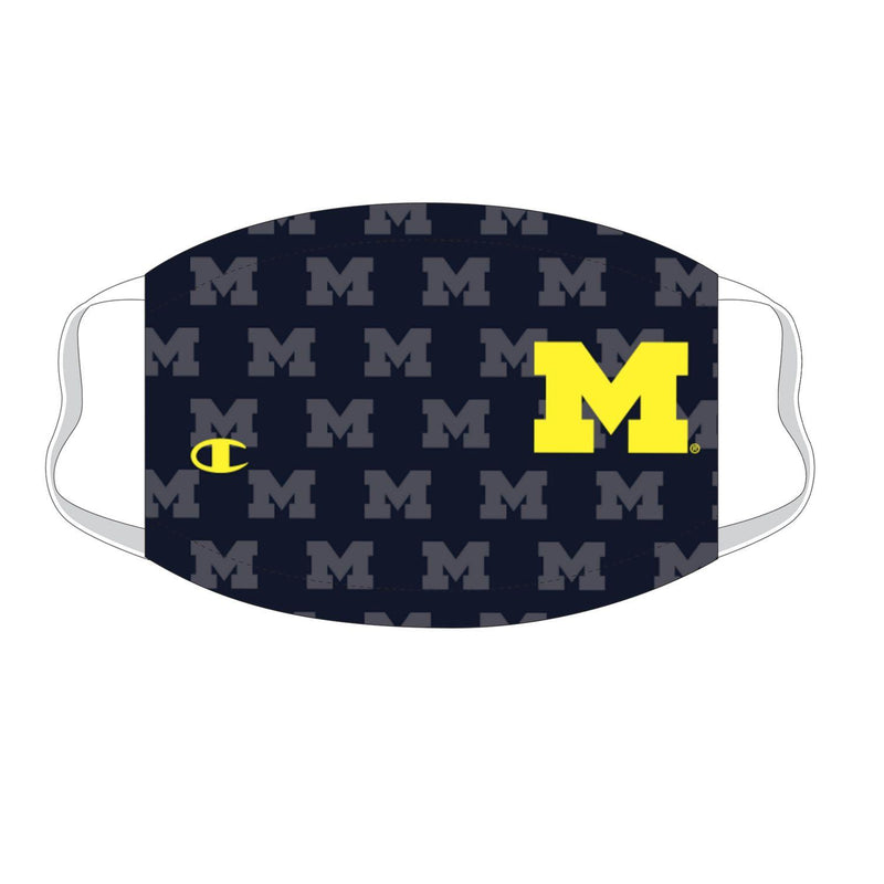 University of Michigan Repeating Logo Champion YOUTH Face Mask - Navy