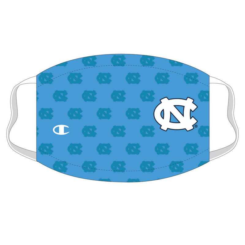 University of North Carolina Repeating Logo Champion Face Mask - Carolina Blue