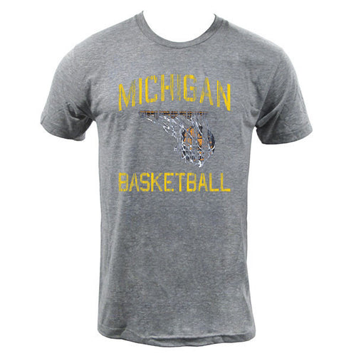Michigan Faded BBall - Athletic Grey