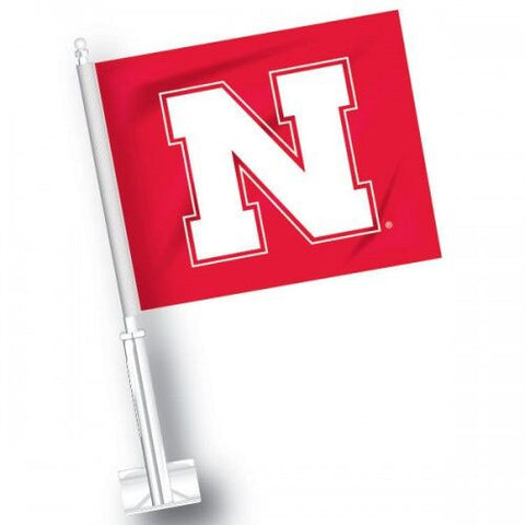 Nebraska Block N Car Flag - Red