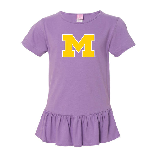 Outlined Primary Logo Michigan LAT Girls Ruffle Fine Jersey Tee - Lavender