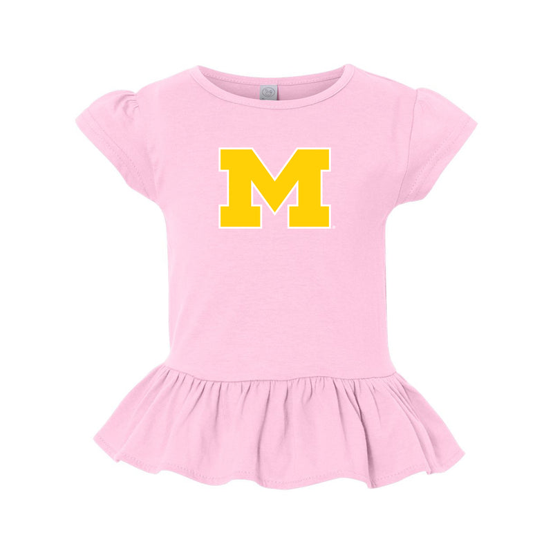 Block M Outline Toddler Girls Ruffle Tee - Pink