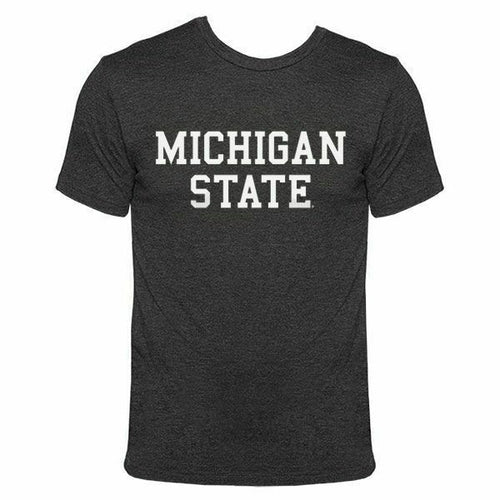 Michigan State University Spartans Basic Block American Apparel T Shirt - Vintage Black
