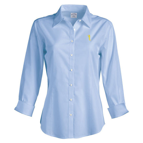 Bo Sil Brooks Brothers Womens 3/4 Sleeve Dress Shirt - Light Blue