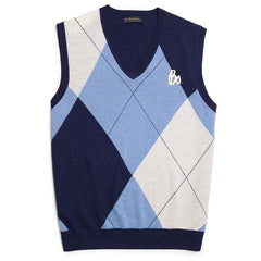 Bo Sig Argyle V-Neck Sweater Vest - Navy