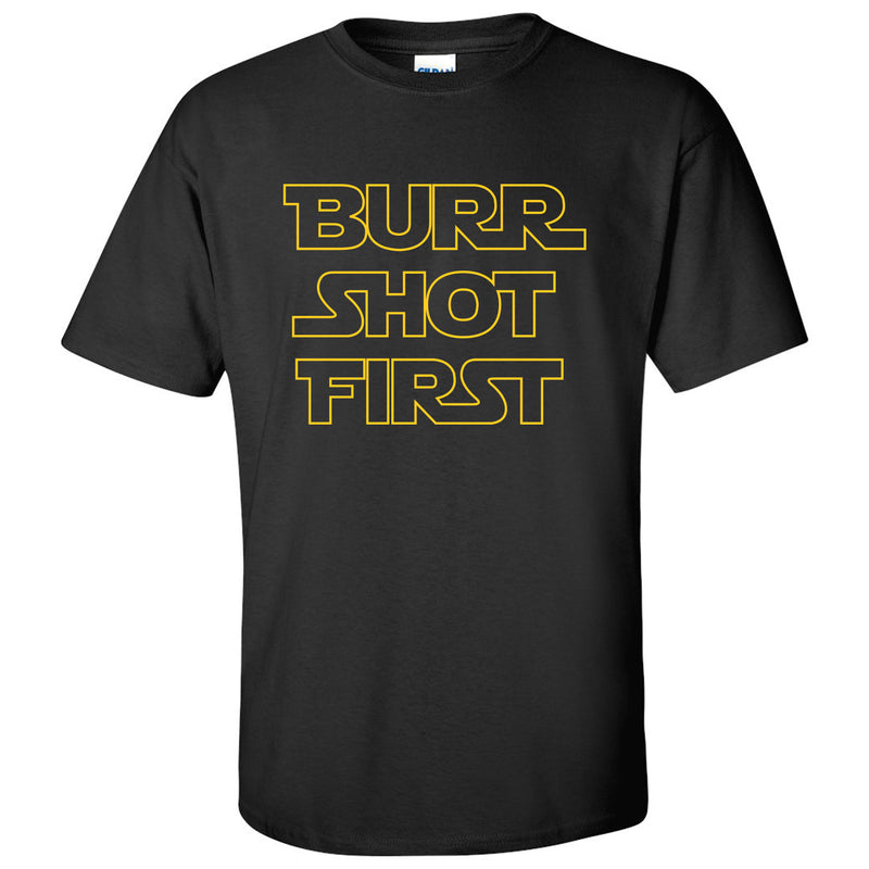 Burr Shot First - Alexander Hamilton Musical Funny Adult History Quote America Cotton T-Shirt - Black