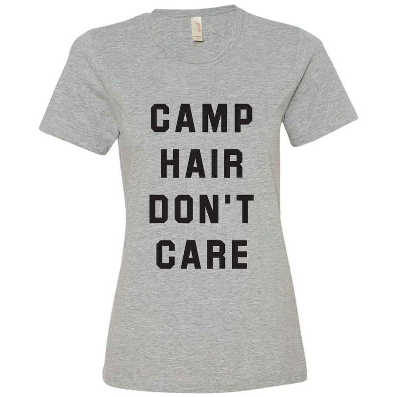 Camp Hair Don't Care - Hiking, Outdoors, Nature, Summer, Lake, Party - Funny Adult Cotton T Shirt - Heather Grey