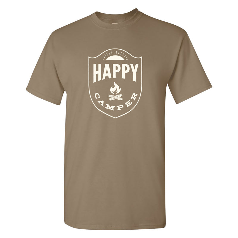 Happy Camper - Hiking, Outdoors, Nature, Fishing, Pun - Funny Adult Cotton T Shirt - Brown Savana
