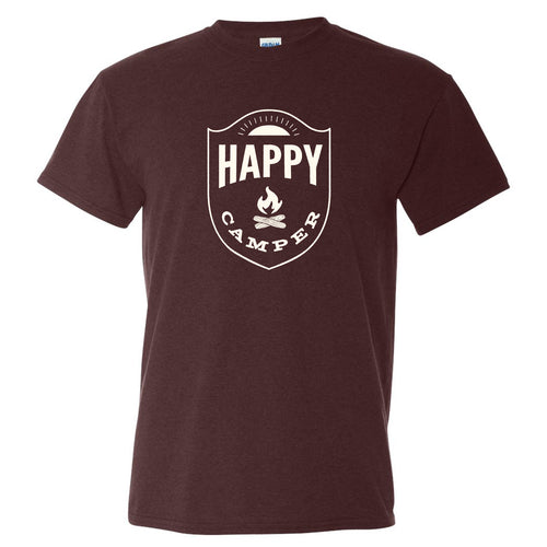 Happy Camper - Hiking, Outdoors, Nature, Fishing, Pun - Funny Adult Cotton T Shirt - Russet