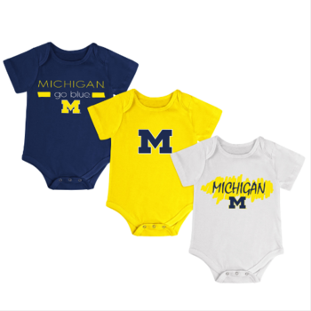 Michigan Infant Triple Play Onesie 3pk - Navy/Maize