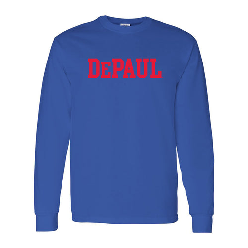 DePaul University Blue Demons Basic Block Long Sleeve T Shirt - Royal