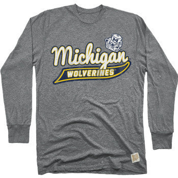 University of Michigan Retro Brand 424 Long Sleeve Mock Twist Tee - Charcoal