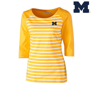 UM Cutter & Buck Revel Stripe 3/4 Sleeve - College Gold