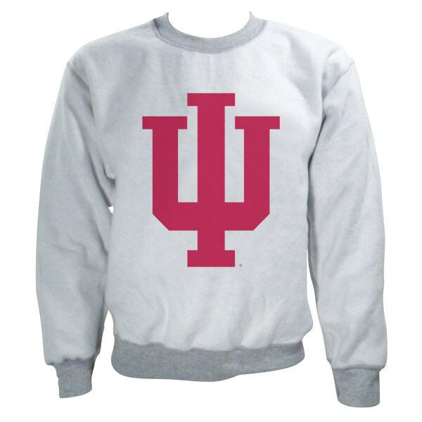 Indiana University Hoosiers Trident Inside Out Crewneck Sweatshirt - Sport Grey