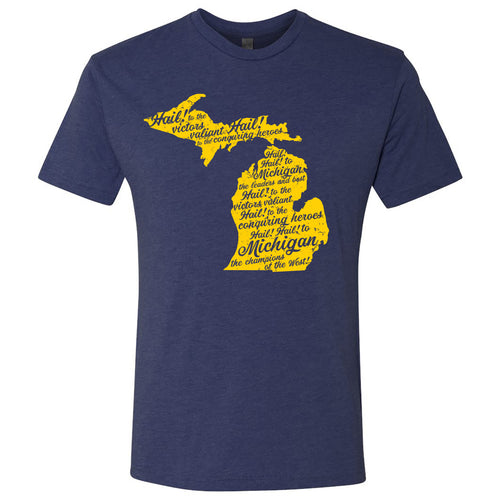 Fight Song University of Michigan Next Level Triblend Short Sleeve T Shirt - Vintage Navy