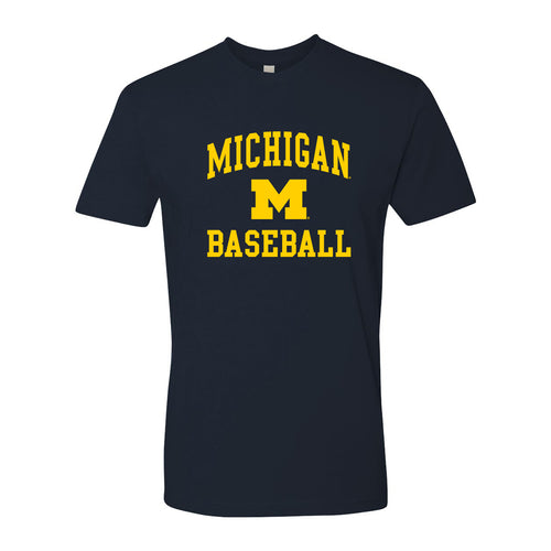 Arch Logo Baseball University of Michigan Next Level Short Sleeve T Shirt - Midnight Navy