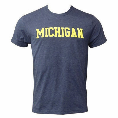 Basic Block University of Michigan Next Level Apparel Triblend T Shirt - Vintage Navy