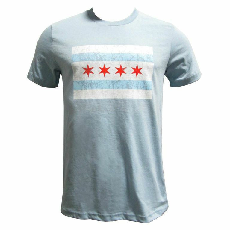 Chicago City Flag Short Sleeve T Shirt - Light Blue