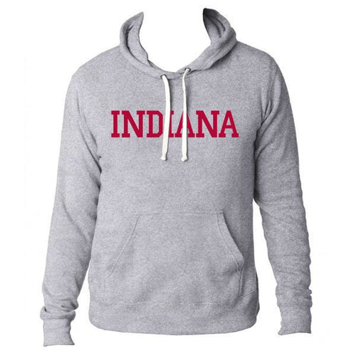 Indiana University Hoosiers Basic Block Triblend Pullover Hood - Grey