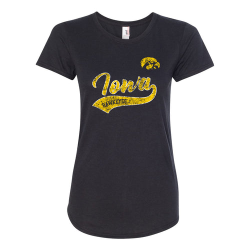 University of Iowa Hawkeyes Ladies Tail Script T Shirt - Black