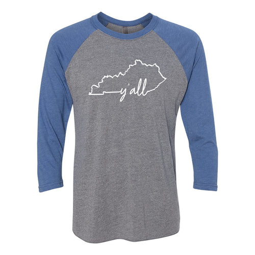 Kentucky Y'all 3/4 Sleeve Raglan - Htr/Royal