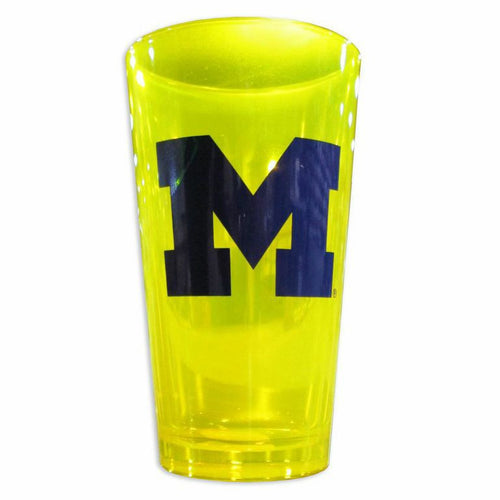 Block M University of Michigan Neil Line 16oz Pint Glass - Yellow