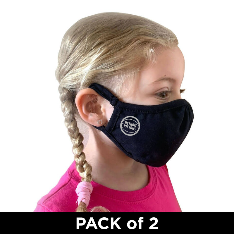 Detroit Pistons YOUTH Washable Daily Face Masks - Black - PACK OF 2