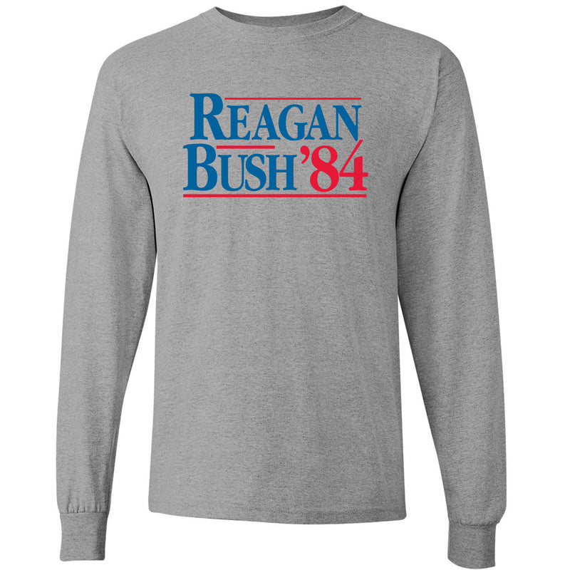 Long Sleeve Reagan/Bush 84 - Ronald Reagan, George Bush, Republican - Adult Cotton T-Shirt - Sport Grey