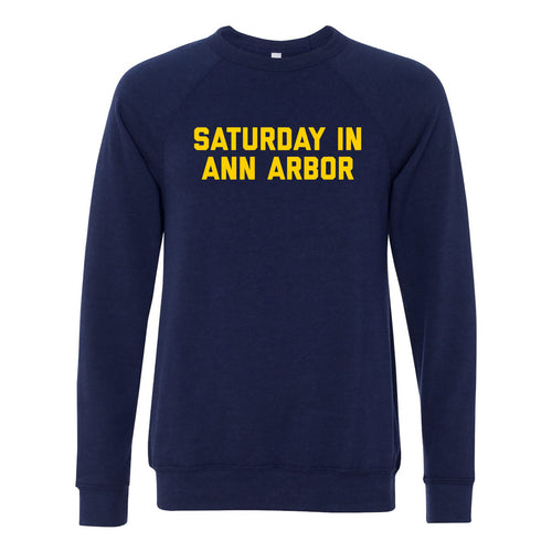 Saturday in Ann Arbor Michigan Sponge Fleece Crewneck - Navy Triblend