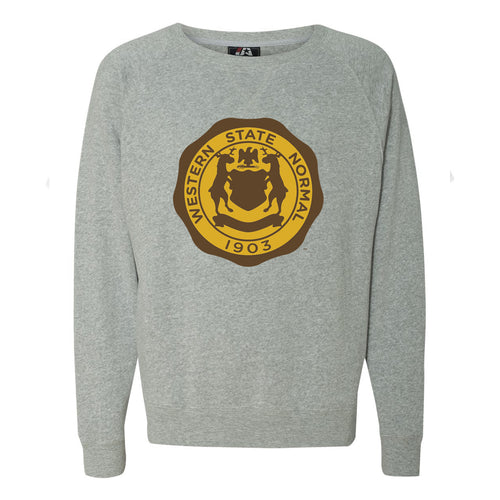 Western Michigan Vintage Seal Triblend Crew - Grey