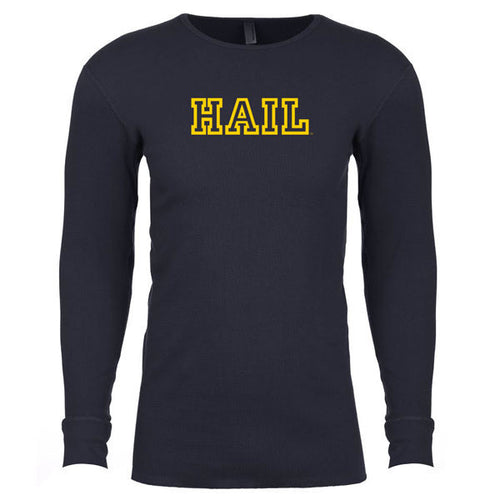 Hail Outline University of Michigan Next Level Long Sleeve Thermal Sweatshirt - Midnight