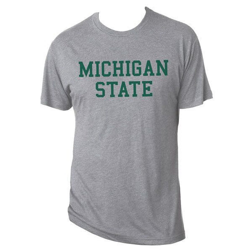 Michigan State University Spartans Basic Block Next Level Short Sleeve T Shirt - Premium Heather