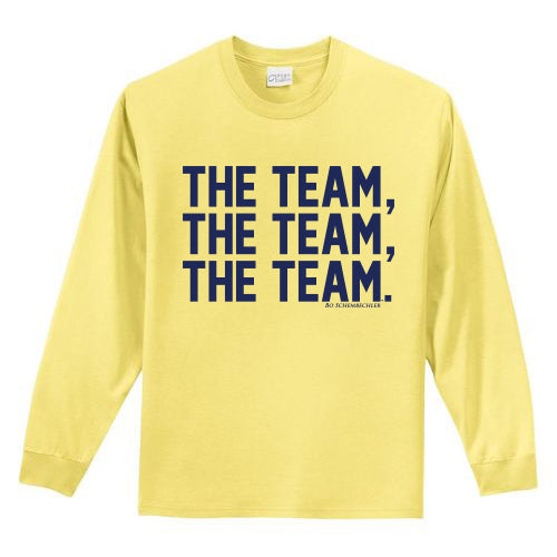 Bo Schembechler The Team The Team The Team Youth Long Sleeve Tee - Yellow