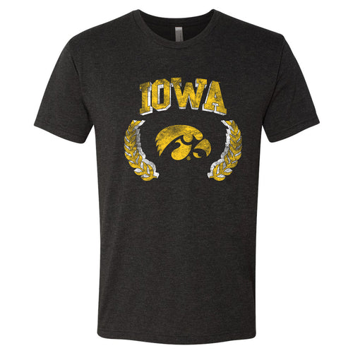 University of Iowa Hawkeyes Laurel Logo Next Level Short Sleeve T Shirt - Vintage Black