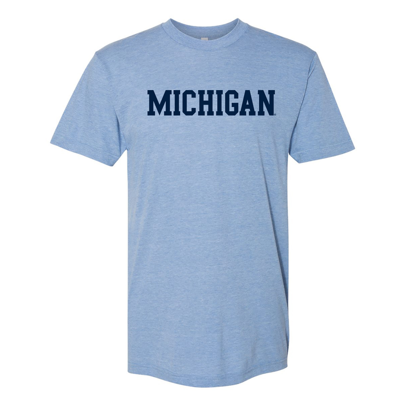 Basic Block University of Michigan American Apparel Triblend Short Sleeve T Shirt - Athletic Blue