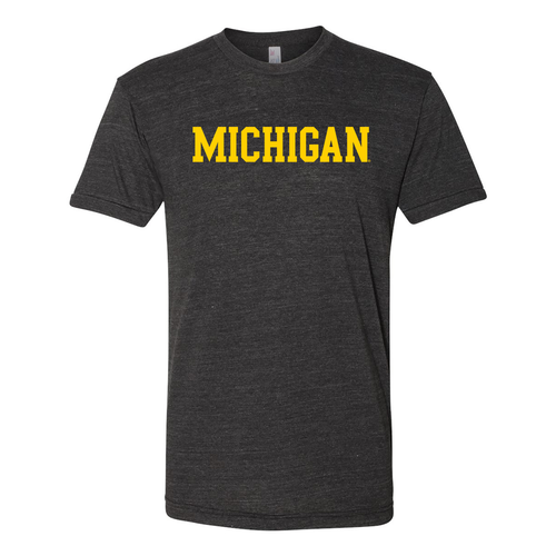 Basic Block University of Michigan American Apparel Triblend Short Sleeve T Shirt - Tri-Black